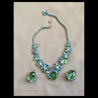Stunning Rare Vintage WEISS Necklace Earrings Blues & Greens - Nuggets