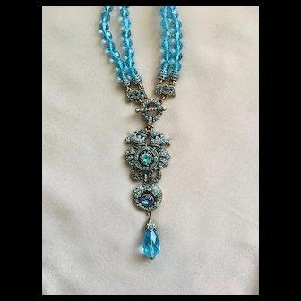 "Majestic HEIDI DAUS ""Prince of the Sea"" Seahorse Drop Necklace - Azure Blue Double Strand"
