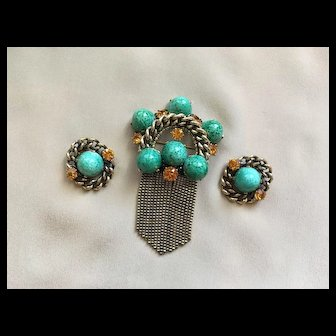 Magnificent Large (and Rare) SCHIAPARELLI BROOCH EARRINGS Medal Style w/ Tassels