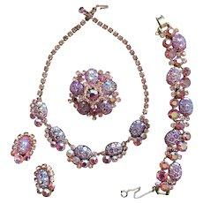 Breathtaking D&E JULIANA Pink Art Glass Parure (Book) Necklace Bracelet Brooch Earrings