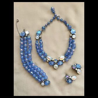 Majestic (and Rare) SCHIAPARELLI Blue Lava Rock Parure Necklace Bracelet Earrings