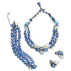 Majestic (and Rare) SCHIAPARELLI Blue Lava Rock Parure Necklace Bracelet Earrings