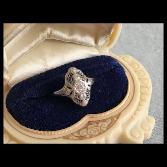 Majestic Art Deco DIAMOND RING (7 Diamonds) - 18K White Gold 1920s-30s