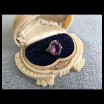 Glorious Art Deco 6 ct Genuine AMETHYST RING 18K White Gold 1920s-30s Sz 7 3/4
