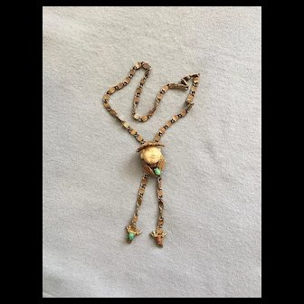 Charming Vintage HAR Laughing Chinaman Coolie Bolo Necklace w/ Original Chain
