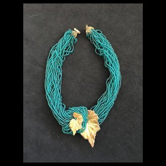 Sensational MIRIAM HASKELL Multi-Strand Seed Bead Necklace - Blue Green Color
