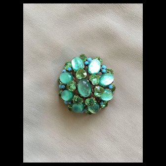 Sensational SCHREINER Brooch - Aqua Green Art Glass Stones w/ Heart Shaped Stones