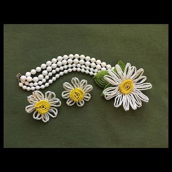 Rare & Wonderful Vintage MIRIAM HASKELL Floral Bracelet Earrings