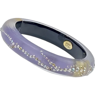 Alexis Bittar Rhinestone Acrylic Lucite Hinge Bracelet