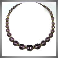 Amethyst Faceted Glass Crystal Necklace