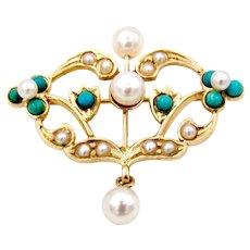 Art Nouveau 14K Cultured Pearl & Turquoise Pin