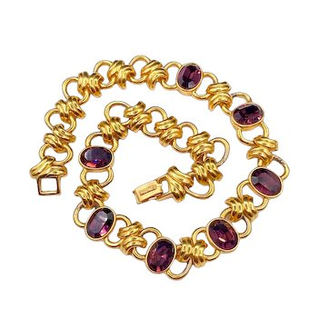 Vintage Alfred Sung Necklace with Amethyst Rhinestones