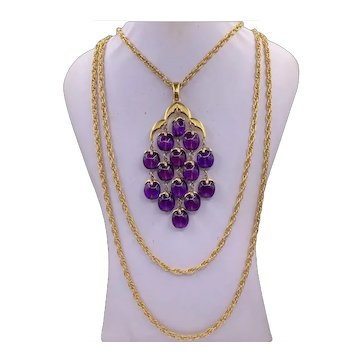 Iconic Vintage Trifari Purple Waterfall Necklace and Earrings Set