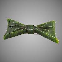 Vintage Bakelite Marbled Green Bow Brooch