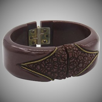 Vintage Bakelite Brown Carved Clamper Bracelet