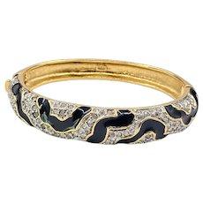 Vintage Butler Rhinestone Enamel Hinged Bracelet