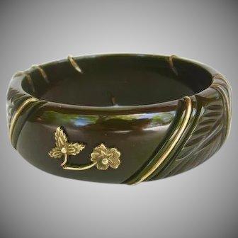 Vintage Dark Green Carved Bakelite Bracelet with Metal Accents
