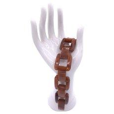 Vintage Marbled Butterscotch Bakelite Link Bracelet