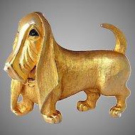 Vintage 1960 Boucher Basset Hound Dog Brooch