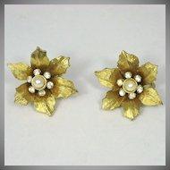 Vintage Boucher Flower Rhinestone Earrings