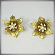 Vintage Boucher Flower Rhinestone Earrings