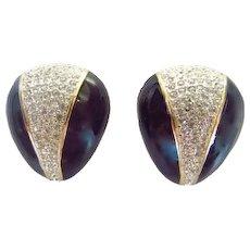 Vintage Designer Les Bernard Rhinestone Earrings