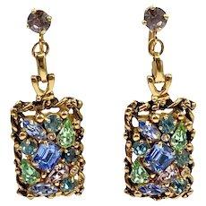 Vintage Barclay Rhinestone Dangle Earrings
