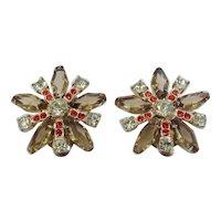 Vintage Juliana D&E Huge Earrings with Coffin Stones