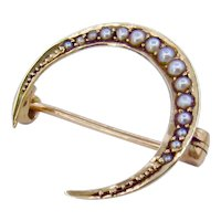 Antique 14K Edwardian Crescent Moon Pearl Pin Brooch