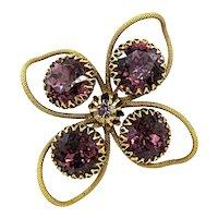 Vintage 1960's Freirich Purple Rhinestone Brooch
