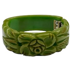 Vintage Deeply Carved Green Bakelite Hinged Clamper Bracelet
