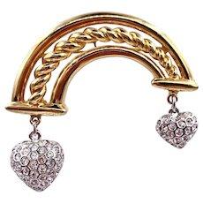 Vintage Courreges France Dangling Rhinestone Heart Brooch