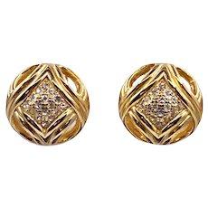 Vintage Christian Dior Rhinestone Button Earrings