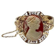Vintage Faux Cameo Filigree Clamper Bracelet