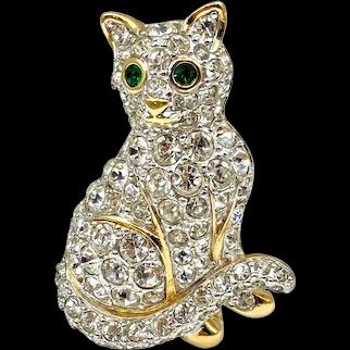 Vintage D'Orlan Rhinestone Cat Brooch