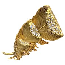 Large Vintage French Claire Deve Sculptural Feather Brooch with Rhinestones