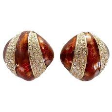 Vintage Designer Ciner Enamel Rhinestone Earrings
