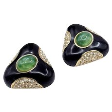 Vintage Ciner Black Enamel Mogul Glass and Rhinestone Earrings