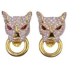 Vintage Panther Cat Door Knocker Earrings