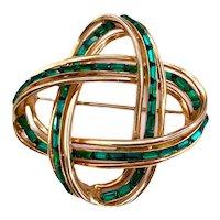 Vintage Coro Emerald Green Rhinestone Baguette Brooch