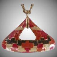 Vintage Geometric Puzzle Design 1970's Celebrity Pendant