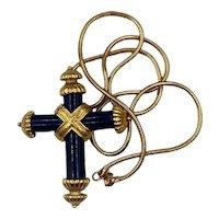 Vintage NOS Black Lucite and Gold-tone Cross Pendant