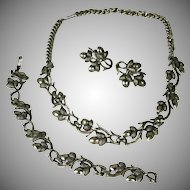 Vintage Coro Pegasus Acorn Necklace Bracelet & Earrings