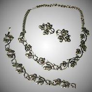Vintage Coro Pegasus Acorn Necklace Bracelet & Earrings