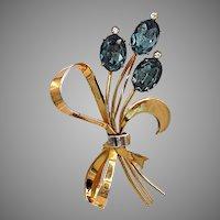 Vintage Coro Craft Stylized Sterling Flower Brooch