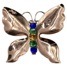 Coro Sterling Silver Vermeil Butterfly Brooch with Rhinestones