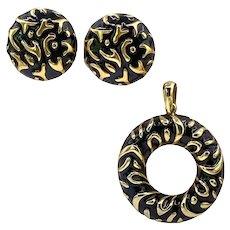 Vintage Courreges France Gold & Black Enamel Pendant & Earrings