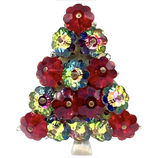 Vintage Christmas Tree Brooch with Watermelon and Red Margarita Stones