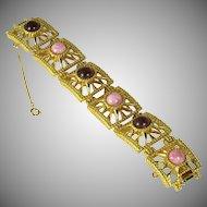 Vintage D'Orlan Cabochon LInk Bracelet
