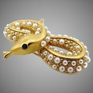 Vintage D'Orlan Faux Pearl Snake Brooch
